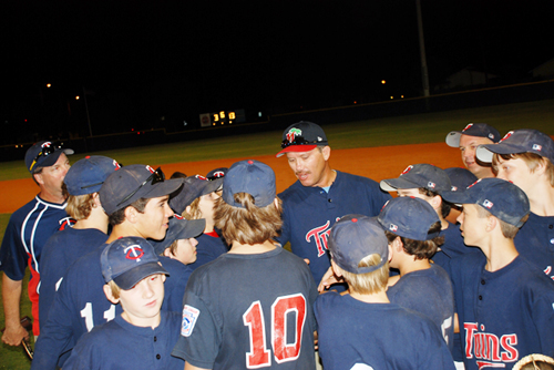 Manager Paul Hobby, Coaches Brett Ellis and Matt Scott, and the Twins