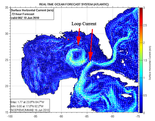 NOAA Real-Time Forecast Map for Gulf of Mexico